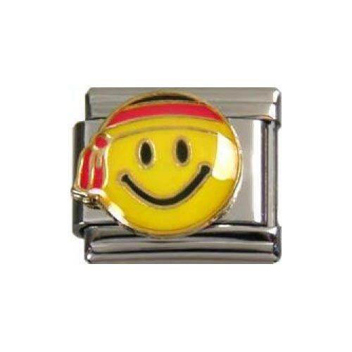 Italian Charms Modul Smiley mit dreifarbigem Kopftuch (Deutschland) ...by Kult-Schmuck
