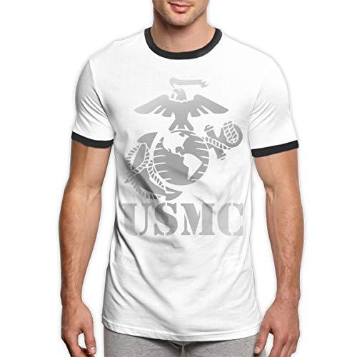 (Menike Eagle Globe Anchor USMC Marine Corps Men's Ringer T-Shirt Casual Contrast Color Short Sleeve T-Shirt XL)