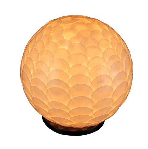 White Capiz Shell Coastal Art Globe Accent Lamp Small