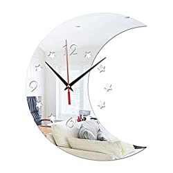 Eve.Ruan Creative 3D Crescent Moon Shaped Digital Acrylic Mirror Wall Clock, Suitable for Decorating Rooms, Cafes, Halls, Etc, Also Can As Gifts for Family/Friends/Colleague (Silver)