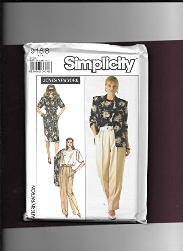 Simplicity 9188 Jones New York Wardrobe Sewing Pattern for Lined Jacket with Long Sleeves, High Waisted Slim Skirt or Pants Both with Back Darts Front Pleats & Back Zipper Sash and Back Button Blouse