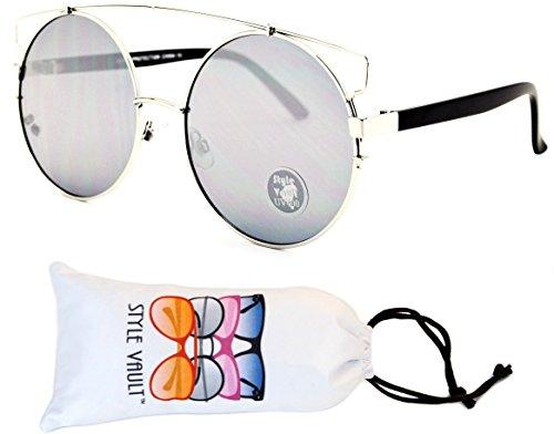 W3007-vp Style Vault Metal Oversized Round Sunglasses (L2815E Silver/Mt Black-Dark Mirror, - Urban Sunglasses