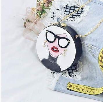 Pnizun - El diseño de moda de dibujos animados mujer atractiva acrílico partido forma redonda bolsa