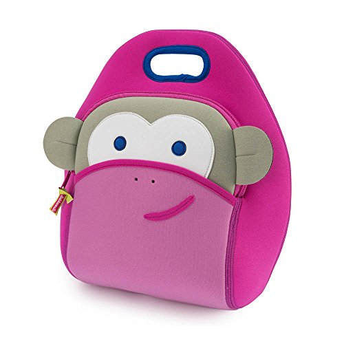 Dabbawalla Bags Blushing Pink Monkey Kids' Insulated Washable & Eco-Friendly Lunch Bag Tote Pink/Grey
