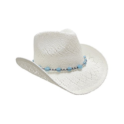 White Straw Cowboy Hat for Women with Beaded Trim and Shapeable Brim