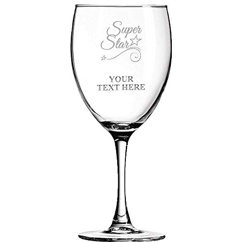 - Thank You Personalized Wine Glass - 10.5 oz Soiree Custom Super Star Wine Glass Gift, Engraving Included Prime