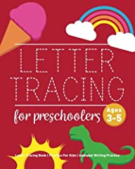 "Great letter tracing practice for kids! This fun book is a great way for children ages 3 and up to learn the letters of the alphabet and practice fine motor skills.    DETAILS: 78 Writing Pages, Dimensions: 8"" x 10"""