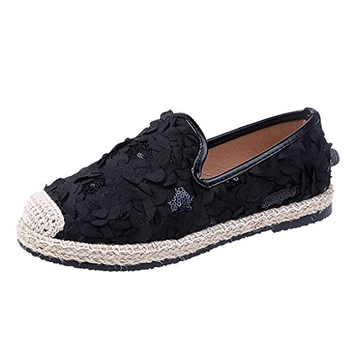 (TnaIolral Women Single Shoes Flat Bottom Summer Straw Shoes Casual Flower Weaving Shoes (US:5.5, Black))