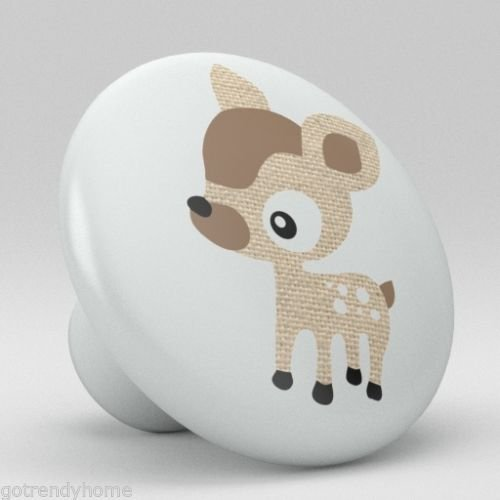 Cute Brown Polka Dot Deer Ceramic Knobs Nursery Pull Kitchen Drawer Dresser 1093 by gotrendyhome