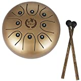 Healifty Steel Tongue Drum Tank Drum 8 Note Percussion Instrument with Musical Mallet for Personal Meditation Yoga Zen Music Therapy Camping (Golden)