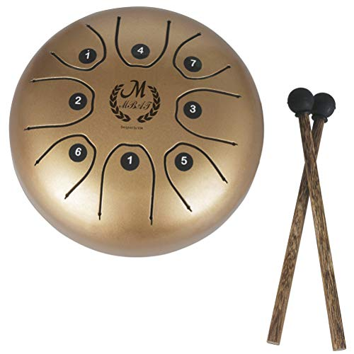 Healifty Steel Tongue Drum Tank Drum 8 Note Percussion Instrument with Musical Mallet for Personal Meditation Yoga Zen Music Therapy Camping (Golden) by Healifty