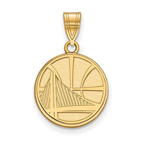 NBA 14k Yellow Gold Plated Sterling Silver Golden State Warriors Medium Logo Pendant by LogoArt
