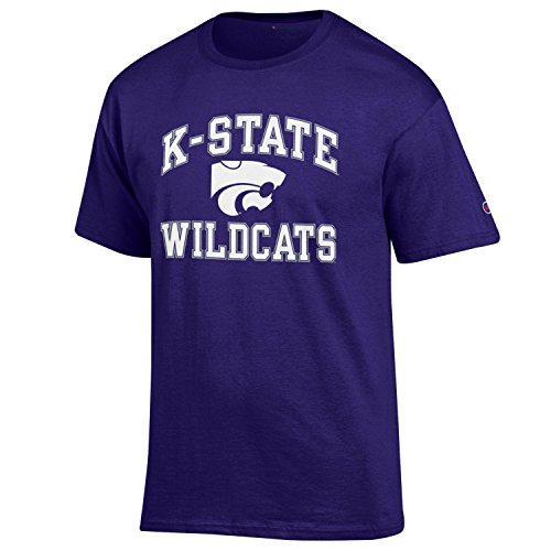 Champion NCAA Men's Shirt Short Sleeve Officially Licensed Team Color Tee, Kansas State Wildcats, ()