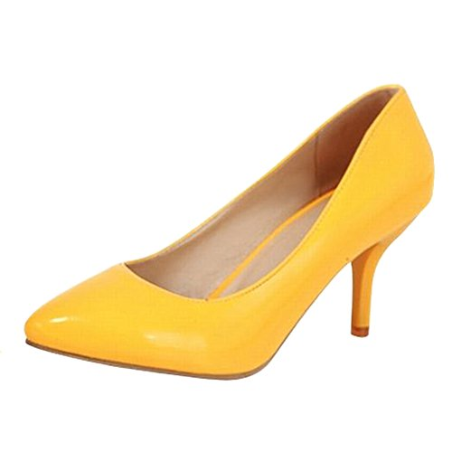 Carolbar Women's Elegant Solid Color Stiletto High Heel Pointed Toe Court Shoes Yellow Sk3nubArVN
