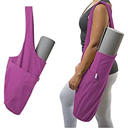 Yogiii Yoga Mat Bag | The ORIGINAL YogiiiTote | Yoga Mat Tote Sling Carrier w/Large Side Pocket & Zipper Pocket | Fits Most Size Mats (Orchid Pink)