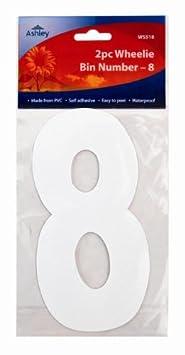 WS518 2XWhite Self Adhesive Wheelie Bin Numbers 17cm 2//Pk Wheelie Bin//Dust bin//Dustbin Number Stickers 8