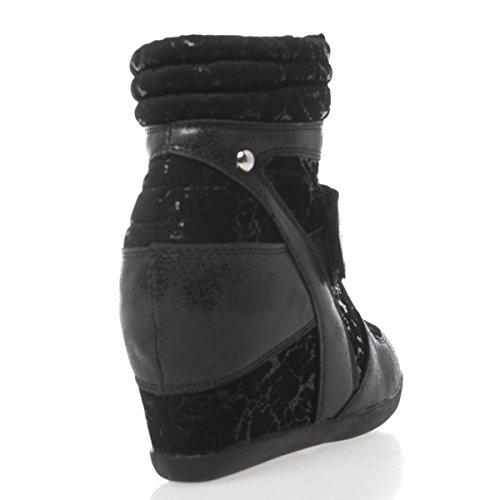 V-luxury Womens 22-sn1205 Sneaker Con Zeppa Nascosta Con Tacco Alto E Punta Rotonda, In Pelle