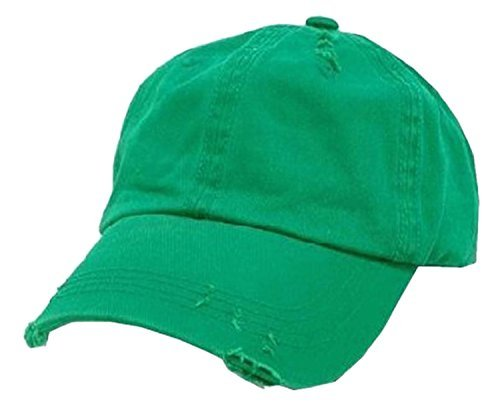 Kelly Green Vintage Distressed Polo Style Low-Profile Baseball Cap Hat