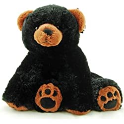 """Super Soft & Floppy Stuffed Black Bear Plush Toy with Weighted Feet - Stands up 11"""""""