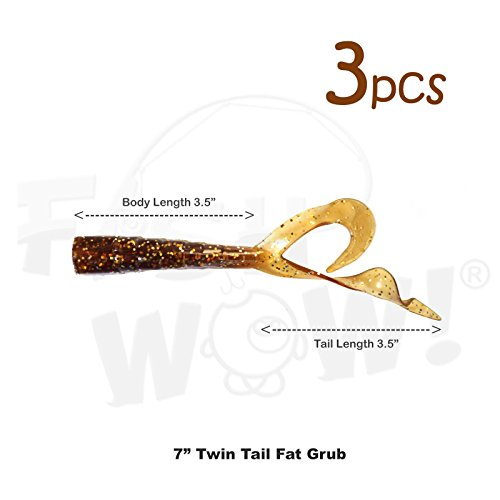 - Fish WOW! 3pcs 6 inch Twin Tail Perch Grub Fat Scampi Soft Lure - Root Beer