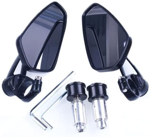 1 Pair 7//8 22mm Motorcycle Rear View Black Handle Bar End Side Rearview Mirrors