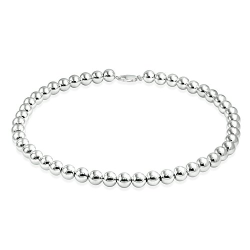 Round Ball Bead Necklace 10mm Classic High Polish 925 Sterling Silver 18 Inches