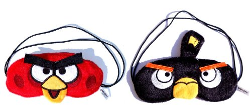 Angry Birds Plush Costume Sleep Mask 2 Pcs. Set Red Bird & Bomb Black Bird / Officially Licensed Product By Rovio