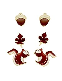 """Rosemarie Collections Women's Set Of 3 Fall Stud Earrings """"Squirrel Acorn Leaf"""""""