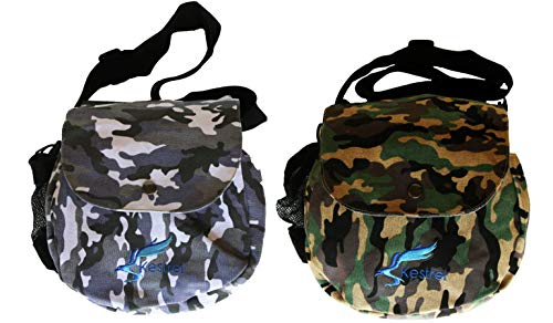 (Kestrel Disc Golf Bag | Fits 6-10 Discs + Bottle | for Beginner and Advanced Disc Golf Players | Extremely Durable Canvas | Disc Golf Bag Set | Frisbee Golf Bag (Green & Gray Camo 2 Pack))