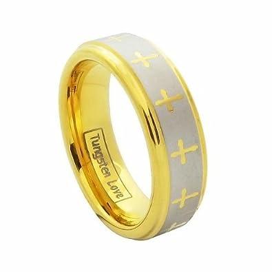 jewelrywe joyas mujer Tungsteno Anillo, con diseño celta Cruz, PARTNER anillos boda banda,