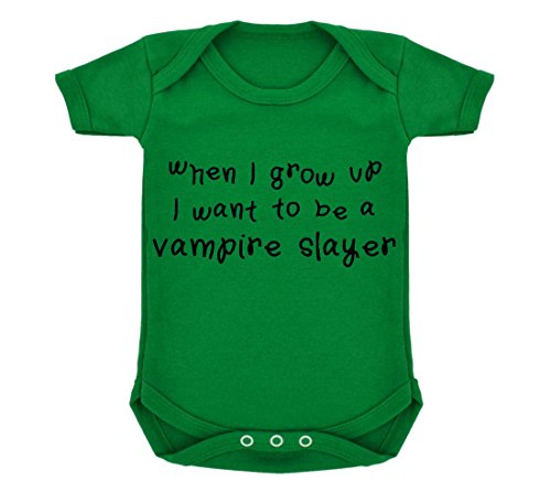 [When I Grow Up...A Vampire Slayer Baby Bodysuit Emerald Green with Black Print] (Vampire Suit)