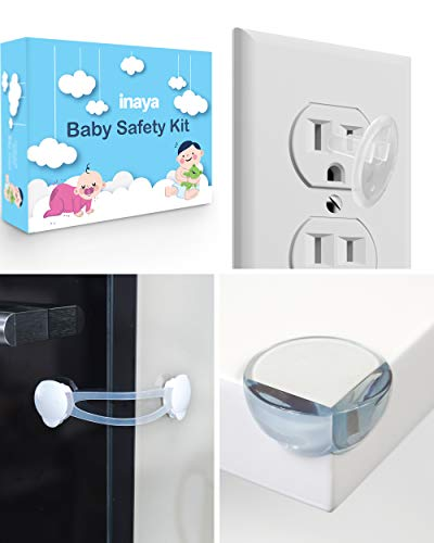 Complete Baby Proofing Kit - 8 Safety Locks, 16 Corner Guards, 16 Outlet Covers - Accident Proof Devices to Keep Your Child Safe at Home - Inaya - Great Gift ()