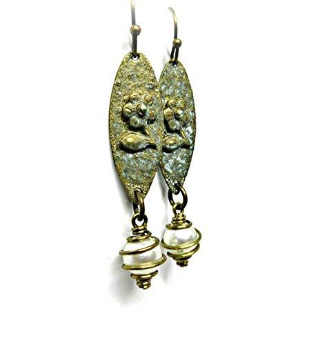 vanyjewl VANY Bohemian Earrings Rustic Pearl Earring Drops Verdigris Patina Brass Earrings Hypoallergenic American Made Nickel Free Brass
