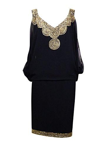 Neck Beaded Women's Dress Kara Gold Black V J xqEwIa5