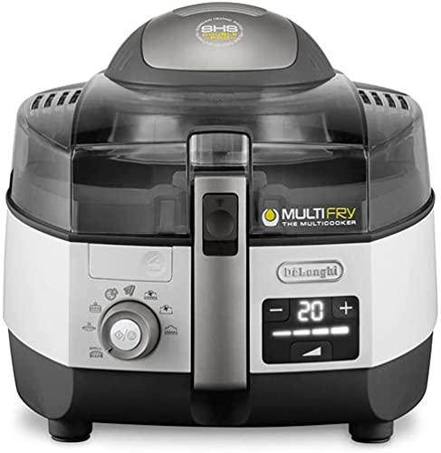 De'Longhi FH1396/1 / .BK Multifry Extra Chef Plus FH 1396 Freidora de Aire caliente/hr2206/80, Capacidad de 1,7 kg, 1400 W/1000 W, 8 raciones, con Sistema SHS Double de Pro, función Grill, Recetas en App, Gris/Blanco
