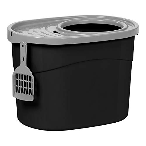 IRIS Top Entry Cat Litter Box with Scoop, Black/Gray