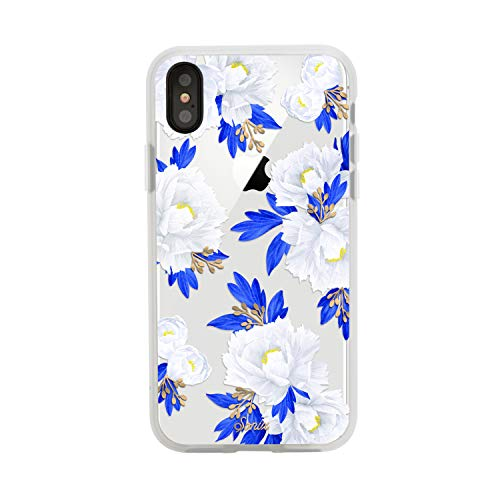 - iPhone Xs, iPhone X, Peony (Blue, White Flowers) Cell Phone Case [Military Drop Test Certified] Women's Protective Clear Case for Apple iPhone X, iPhone Xs