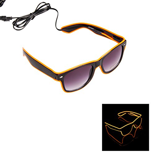 iChase Party Favor Costumes Eyeglasses ,EL Wire Fashion Neon Shutter Electroluminescent Flashing LED Sunglasses with Battery case Controller for Halloween Christmas Birthday Party Favor (Flashing Eyes Halloween Costume)