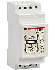 Vemer VN313300 transformator TMD 15/24 met DIN-rail, voor onderbroken werking 230 V/12-24 V lichtgrijs