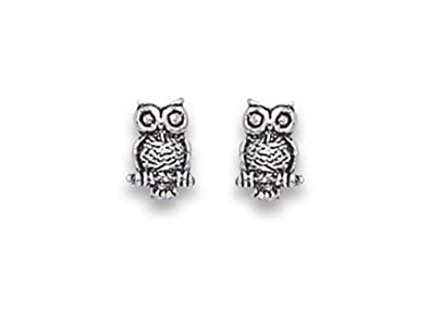 Heather Needham Silver Owl Earrings - Size: 8mm. Gift boxed owl stud earrings. 5090/B41HN