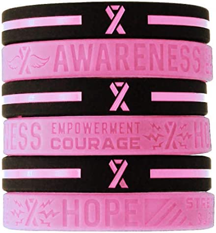 (6-pack) Breast Cancer Awareness Pink Ribbon Bracelets – Bulk Pack of 6 Silicone Rubber Wristbands to Symbolize Hope, Courage, Strength, and Support – Breast Cancer Gifts Jewelry Apparel Accessories