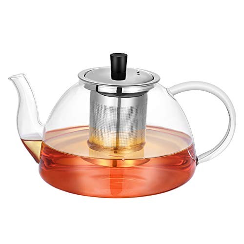 HEMOTON Large Capacity 1200ml Glass Teapot with Removable 304 Stainless Steel Infuser, Stovetop Safe Thick Wall Tea Pot for Blooming, Loose Leaf - La Glass Teapot Cafetiere