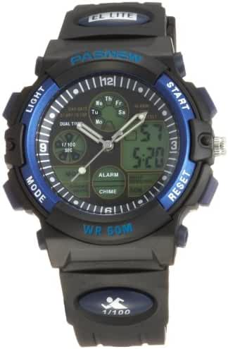 50m Water-proof Digital-analog Boys Girls Sport Digital Watch with Alarm Stopwatch Chronograph (Blue)