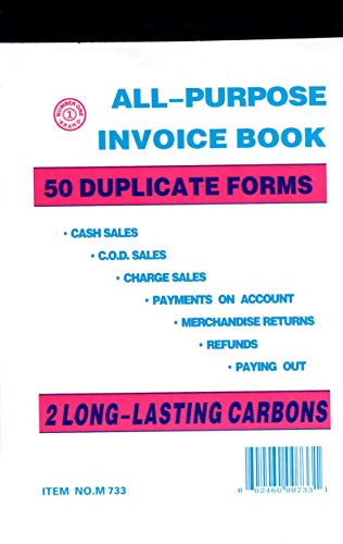 All Purpose Invoice Sales Order Book, Receipt Invoice Duplicate, 5.67 x 8.5 Inches, 2-Part White/Canary, 50 Sets/Book ()