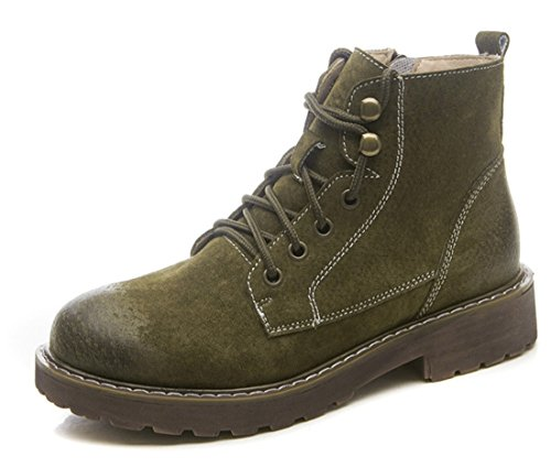 up Faux Green TDA Ankle Retro Martin Suede Women's Stitching Fashion Lace Leather Boots Itt6qH