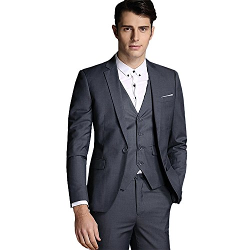 Mens Notch Lapel Modern Fit Suit Blazer Jacket Tux Vest and Trousers Set Three-Piece,Dark Grey,Medium (Piece Vest Three)