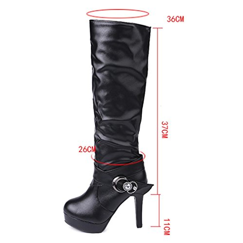 Inkach Womens Winter Boots | Faux Leather Knee High Boot Shoes | High Tube | High Heels | Riding Boots Black rWYJO7ca