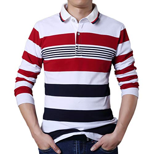 Fashion Men's Casual Long Sleeve Tops, AmyDong Button Striped Spring T-Shirt Blouse White ()