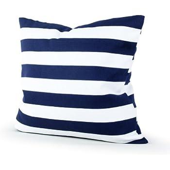 Amazoncom Decorative Printed Stripes Throw Pillow Cover 18 Navy