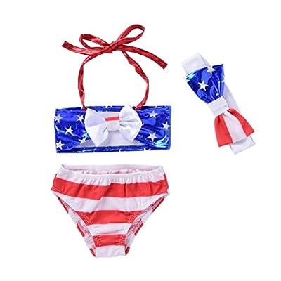 WensLTD Infant Toddler Kids Baby Girl Striped Floral Swimsuit Swimwear Bathing Suit Bikini Set Clothes